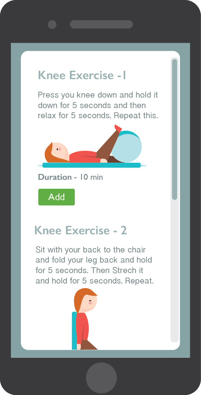 screen showing all exercises