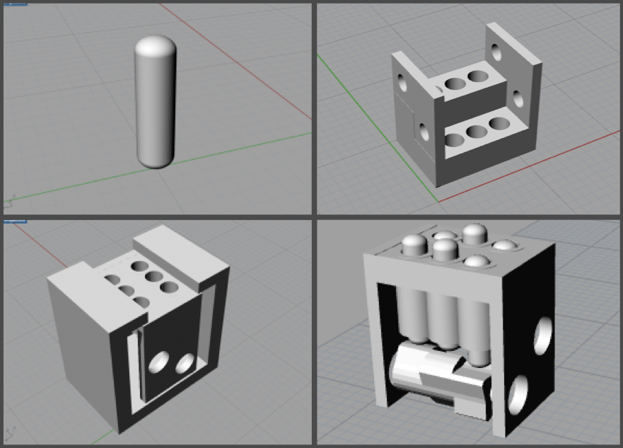 3d designs of the pins, housing and the shafts
