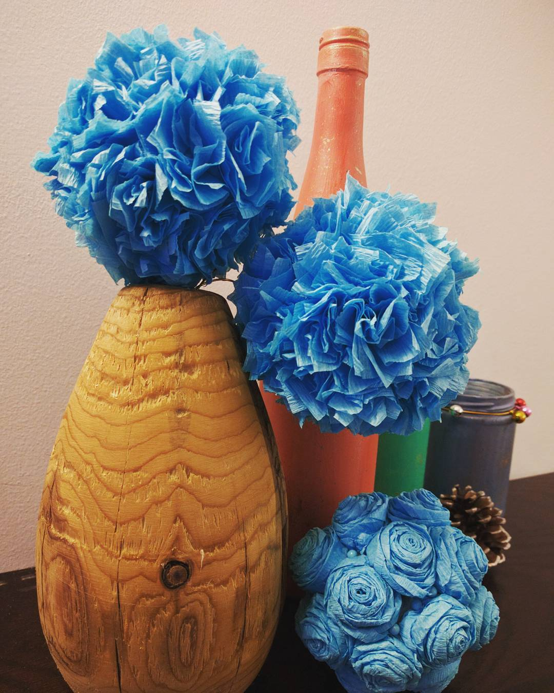 wood turned vase with paper flowers