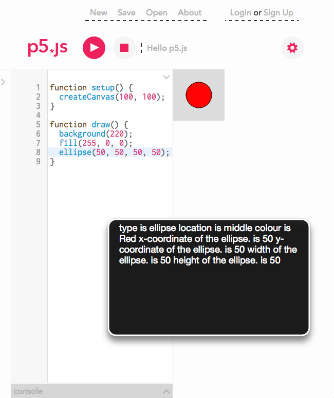 screenshot of the p5 IDE with canvas output of a red ball and screen reader output