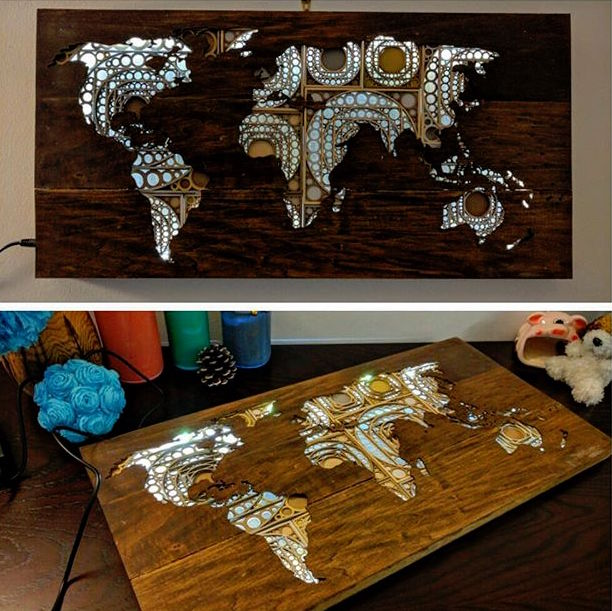 laser cut world map