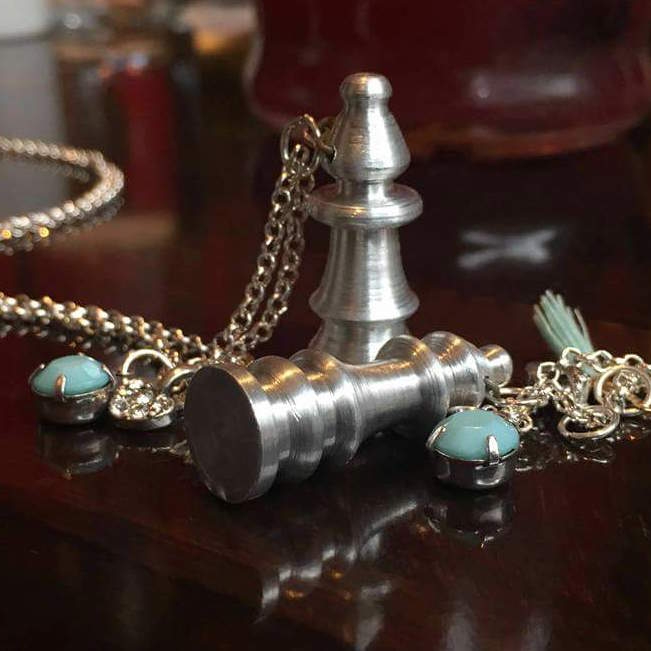 metal chess pieces as pendants